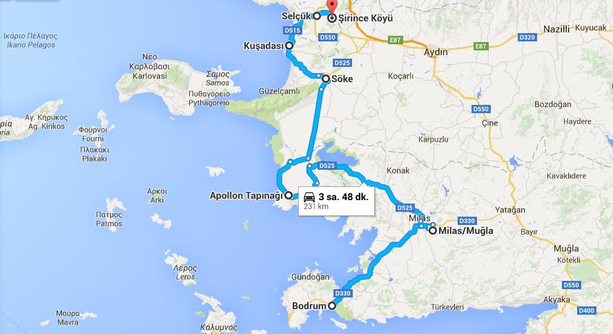 turcja egejska samochodem koszt trasa